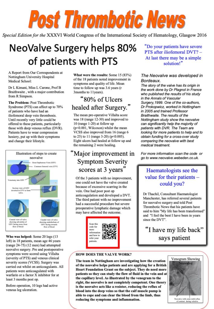 Deep Vein Neovalve results for post thrombotic syndrome